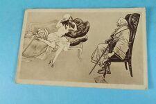 AK mit Erotik Motiv - 1920er/30er J. - junge Frau auf Sofa + älterer Mann   /S97