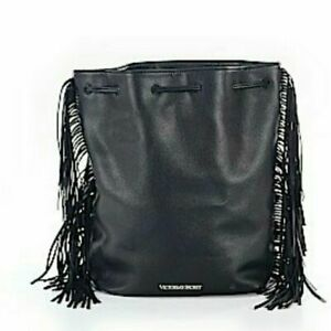 Victoria's Secret Black Fringe Bucket Bag Backpack Boho MRP $85 NWT