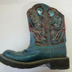 Women's ARIAT Fatbaby Cowgirl Brown Leather Boots Turquoise western BOHO Sz 7B