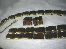 Lisner Vintage 'Moonglow' Lucite Thermoset Parure (3pc.) LtBrown Jewelry Set EUC