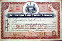 1902 Railroad/Trolley Stock Certificate: 'Philadelphia Rapid Transit Company' PA