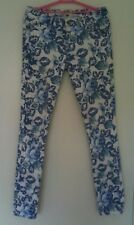 Blue White Floral Print Skinny Trousers size 10 Slim Jeans  COTTON ON
