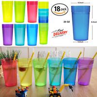 Set Of 18 Durable Shatter Proof Beverage Plastic Tumblers 20 Oz Dishwasher Safe