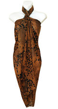 Brown Leopard Animal Print Sarong Pareo Big Scarf Wrap Swimsuit BeachCover 16