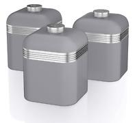 Swan Set Of 3 Tea Coffee Sugar GREY Canisters Jar Kitchen Storage Vintage Tubs
