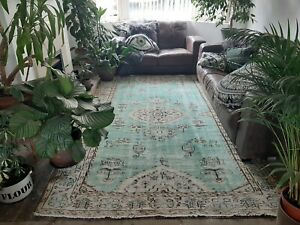 Green Wool Handknotted Vintage Turkish Oriental Large Area Rug