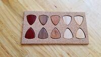 Set of 10 Wood Guitar Picks - Mahogany, Hickory, Walnut, Padauk and Alder Wood