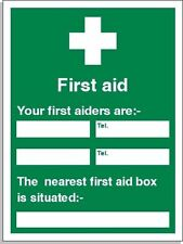 Personalised promotional vinyl First Aid information sign / poster