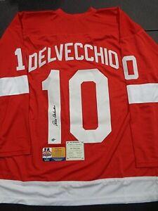 Alex Delvecchio Detroit Red Wings Autographed Custom Hockey Jersey coa- FTA -DC