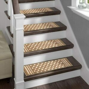 Sofia Rugs Shaggy Stair Treads Carpet Runner Strips for Staircase Steps Tan 13