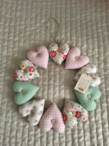 Handmade Shabby Chic Heart Wreath Decoration Beautiful Floral And Gingham Fabric