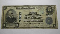 $5 1902 Vallejo California CA National Currency Bank Note Bill! #9573 Date Back!