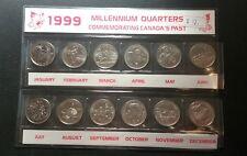 Canada 1999 Millennium Quarters 25 cents set 12 UNC coins Complete Set