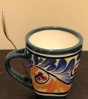 Coffee Mug from Honduras Painting Signed  Souvenir Collectible Cup + Spoon