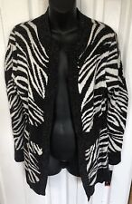 Rafaella black white zebra cardigan sweater womens size medium long sleeve New