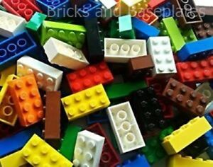 LEGO BRICKS 200 x VARIOUS MIXED COLOURS INC RED BLUE GREEN YELLOW 2x4 Pin - NEW