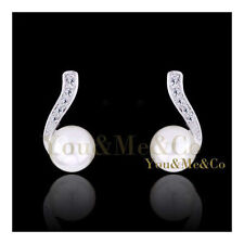 18k White Gold EP Brilliant Cut Crystal & 7mm Cream Pearl Stud Earrings