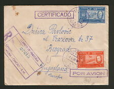 VENEZUELA TO YUGOSLAVIA-TRAVELD REGISTERD LETTER-AIRMAIL STAMPS-PLANE-1960.