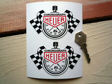 "HEUER Chronograph STOPWATCH Style Race Car STICKERS 4"" Pair Racing Rally Sports"