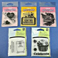 Inkadinkado Clear Mini Stamps Set of 5 Birthday Celebrate Friends Love Heart NEW