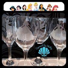 Set Of 4 Disney Princess Wine Glasses! Handmade! Free Personalisation & Free P+P
