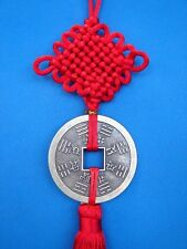 Chinese Bagua Safety Money Lucky Coin Charm with Red Mystic Knot Tassel