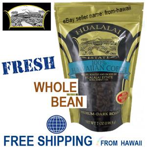 100% HAWAIIAN COFFEE - HUALALAI ESTATE Kona Hawaii 7oz WHOLE BEAN Pesticide Free