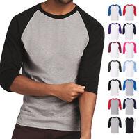 New 3//4 Sleeve Raglan Baseball Mens Plain Tee Jersey Team Sports T-Shirt S-3XL