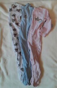 Bundle of 3 Baby Girl Sleepsuits White Blue Pink Bambi Thumper George 9-12 month