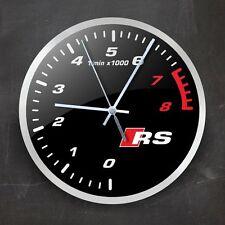 Audi RS Tachometer Wall Clock Home Accessories Car Logo Decor Gift Wach 9,5''