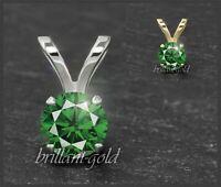Diamant 585 Gold Damen Anhänger, grüne Brillanten 3-5mm/ 0,10-0,50ct
