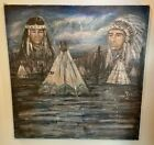 Native American Stormy Desert Oil Painting 29x30 on Canvas