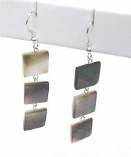 Square mother of pearl shell sterling silver dangle earrings EAR330002