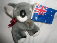 "Koala Bear Uniring Australia holding Flag Uni-Toy 6"" Gray Plush Stuffed felt"