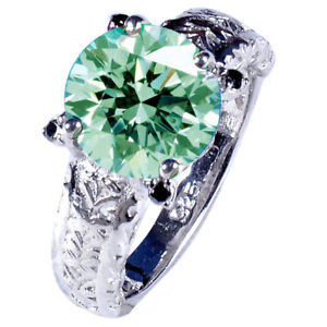 3.45+Ct Vvs1=NATURAL WHITE ICE BLUE MOISSANITE DIAMOND 925 SILVER MEN'S RING