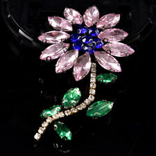 Pink Rhinestone Flower Beaded Patch for Clothing Sewing on Beading Applique EB