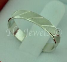 18k solid white gold band ring diamond cut #3713 h3jewels size  8.5