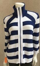 NWT Rabe Woman Zip front Top Sweater SZ 6 US SZ 38 EU Striped Navy White