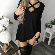 Womens Choker V Neck Long Top T-shirt Ladies Casual Party Mini Dress Blouse#