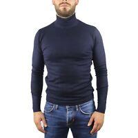 Maglia Maglione Uomo Collo Alto Blu Slim Maglioncino Dolcevita Lupetto Pullover