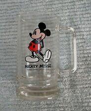 Vintage 1990's Walt Disney Productions Mickey Mouse 3x6 Heavy Glass Mug FREE S/H