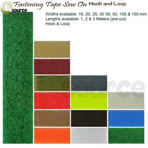 Fastener Tape Sew On Hook & Loop Pre Cut Width 16 20 25 30 38 50 100 & 150 mm