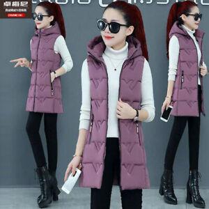 Women Vest Winter Long Down Cotton Vest Warm Hooded Jacket Waistcoat Cotton Coat