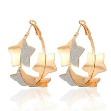 Beautiful Shiny Earrings Jewelry with 18K Real Gold Plated Basketball Wives Hoop