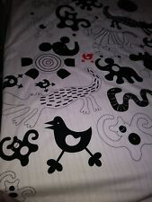 VERY RARE 2008 Ikea Barnslig Parks Twin Bed Duvet Cover-B&W w/Red Animals-EUC