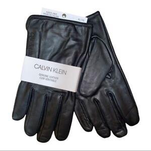 Calvin Klein Men's Classic Leather Fleece Lined Black Touchscreen Gloves XL NWT
