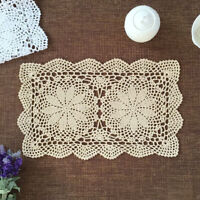 Vintage Hand Crochet Doilies Cotton Lace Doily Table Mats Flower Placemat 11x17""