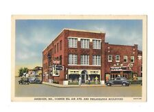 Unused VTG Linen Postcard Aberdeen MD Bel Air Ave Philadelphia Blvd Coke Sign