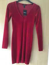 LADIES FOREVER21 RED BODYCON DRESS NEW WITH TAGS SIZE S UK 6/8