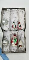Lot Of 6 Christmas Hand Blown Glass Ornaments  3 Santa Clause  1 house Vintage